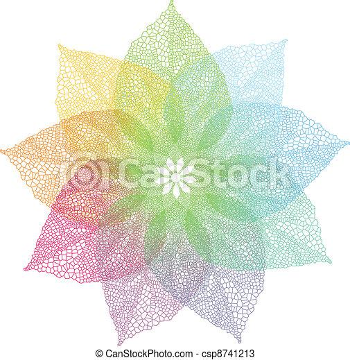 primavera, vetorial, coloridos, folhas - csp8741213