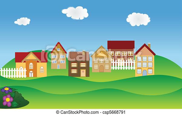 primavera, vizinhança, residencial - csp5668791