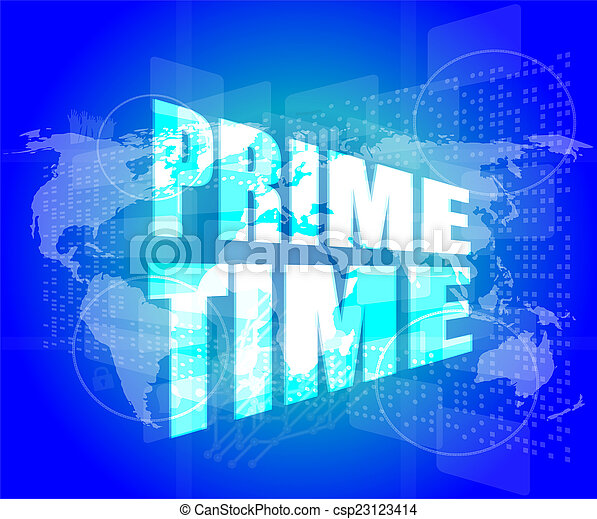 Prime time words on digital screen background with world map prime time words on digital screen background with world map csp23123414 gumiabroncs Choice Image