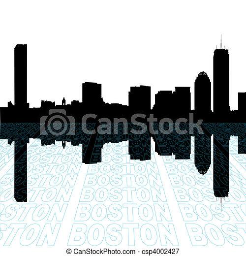 primer plano, contorno, texto, contorno, perspectiva, boston - csp4002427
