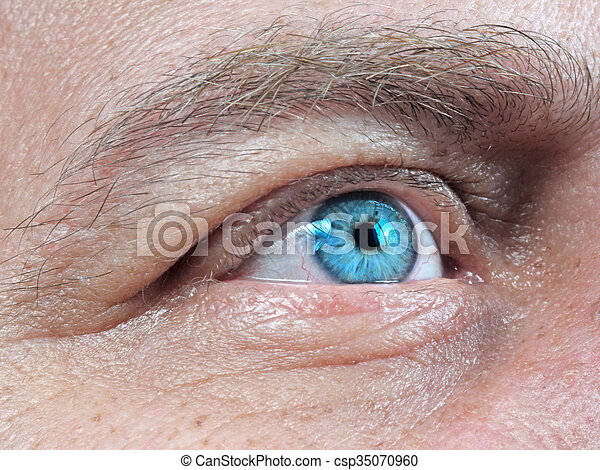 primer plano, hombres, ojo, humano - csp35070960