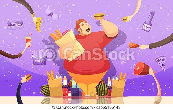 Gluttonía que conduce al afiche de obesidad - csp55155143