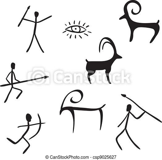 primitif, aimer, caverne, figures, regarde, peinture - csp9025627
