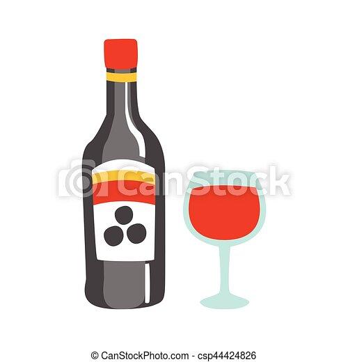 primitif, alcool, clipart, série, boisson, verre, partie, bouteille, vin, illustrations, icône, café, dessin animé, rouges, pizza