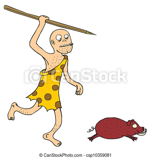 primitive hunter a prehistoric guy with spear run after a jungle pig rh canstockphoto com primitive pumpkin clipart primitive fall clipart