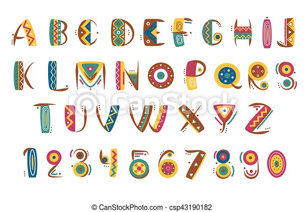 Primitive Mexican Font Tribal Indian Or African Letter Numbers Vector Illustration