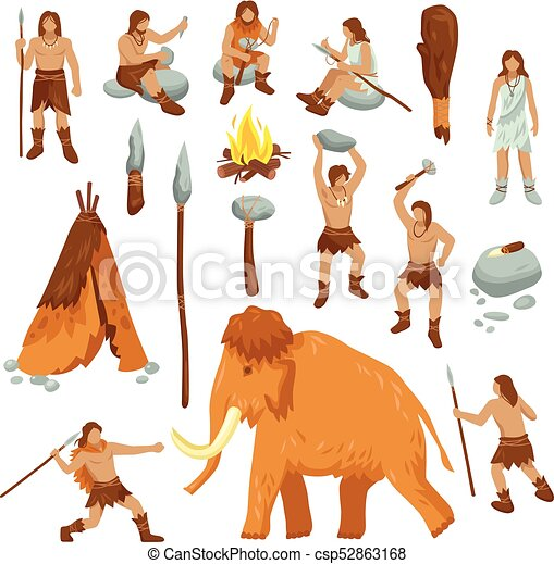 Primitive People Flat Cartoon Icons Set Primitive People Flat