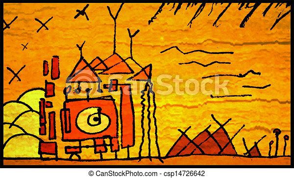 Primitive Village Illustration In Hot Warm Colors Drawing