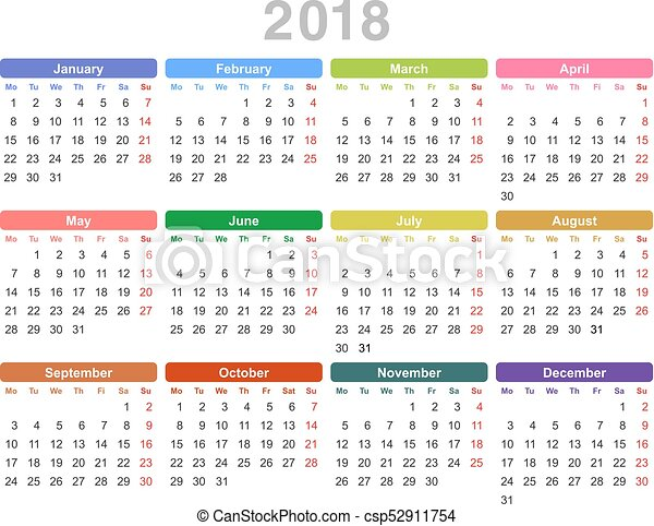 Primo Calendario.Primo Annuale Monday English 2018 Anno Calendario