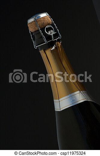 primo piano, champagne, cima, bottiglia - csp11975324
