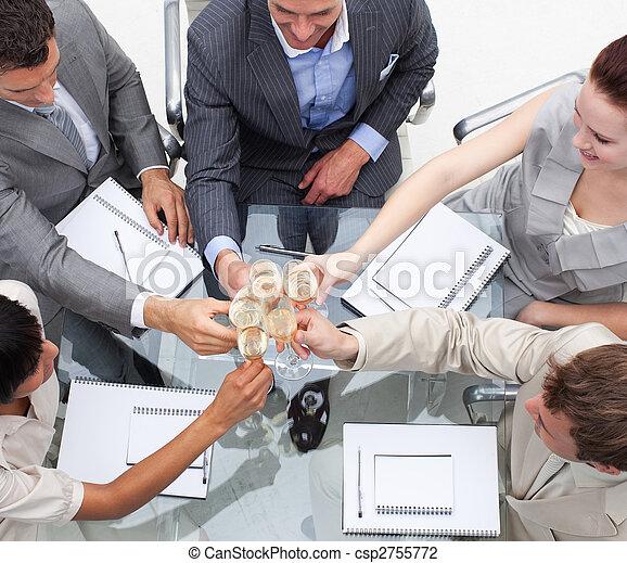 primo piano, champagne, tostare, squadra affari - csp2755772