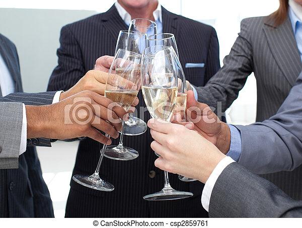 primo piano, champagne, tostare, squadra affari - csp2859761