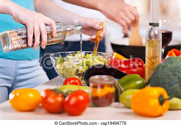 primo piano, cibo, coppia, cottura, insieme, insieme., preparare - csp19494779