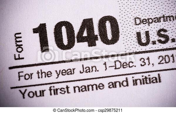 primo piano, forma 1040, tassa, stati, unito - csp29875211