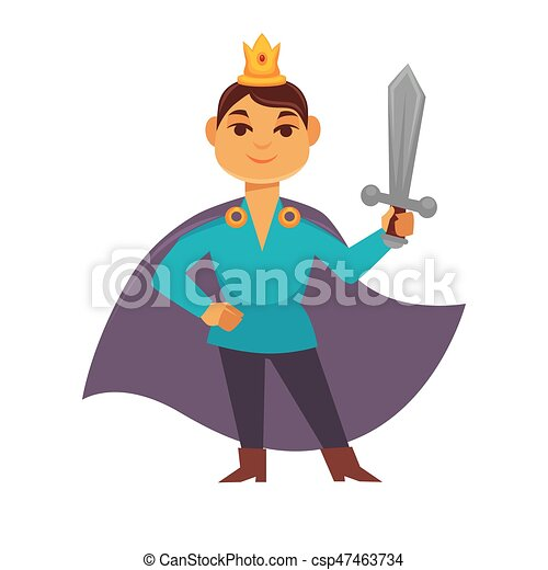 Prince fairytale cartoon character, brave medieval hero with weapon - csp47463734