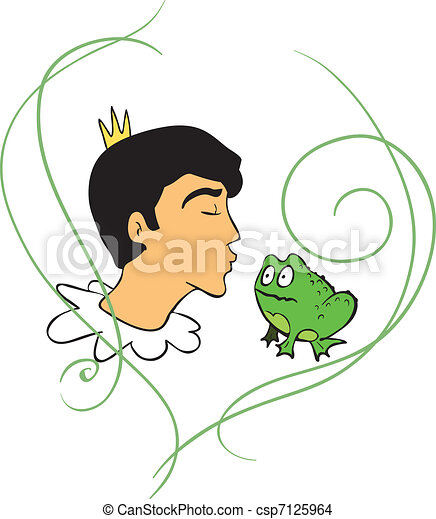 Prince kisses frog - csp7125964