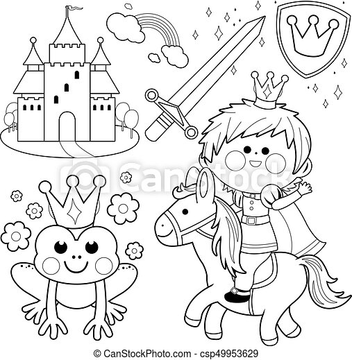 Prince riding a horse fairy tale set. black and white coloring page ...