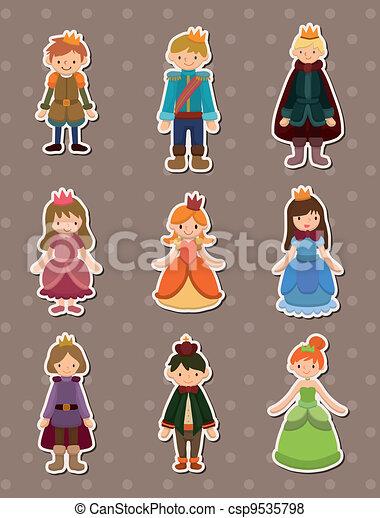 Cartoon Prince y princesa calcomanías - csp9535798
