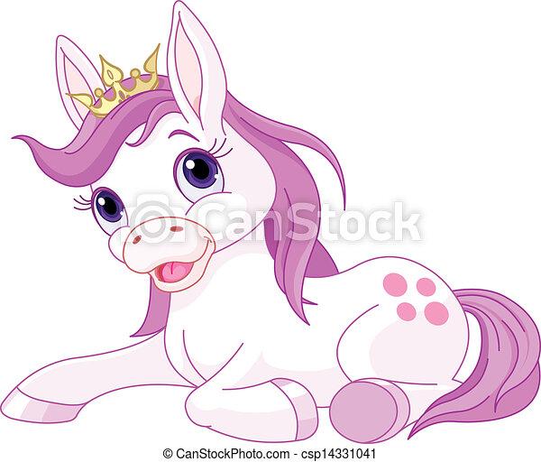 Bonita princesa de caballo descansando - csp14331041