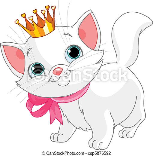 Princesa, gatito. Corona de oro, gatito, blanco, adorable.