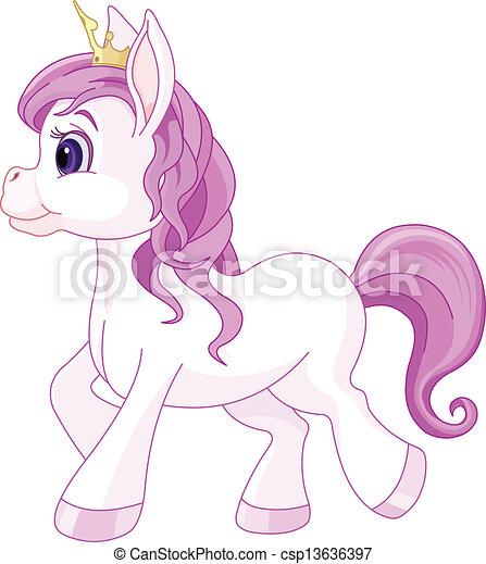 Bonita princesa de caballo caminando - csp13636397