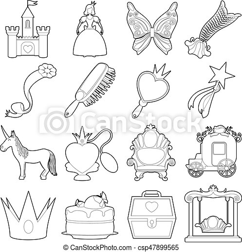 Princess accessories icons set, outline style - csp47899565