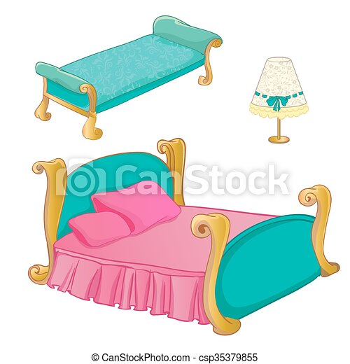 princess bedroom furniture set vector colouring clipart vector rh canstockphoto ca