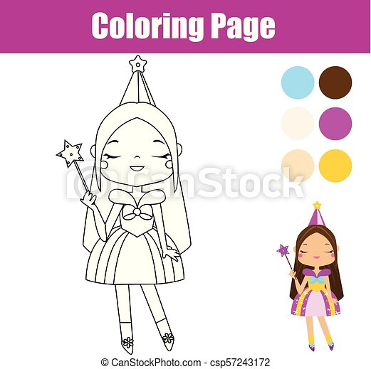 Princess coloring page. educational game. printable activity for ...