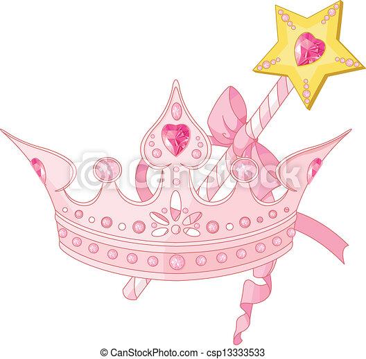 Princess crown and magic wand   - csp13333533