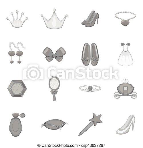 Princess doll icons set, monochrome style - csp43837267