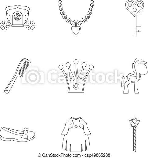 Princess fairy tail icon set, outline style - csp49865288