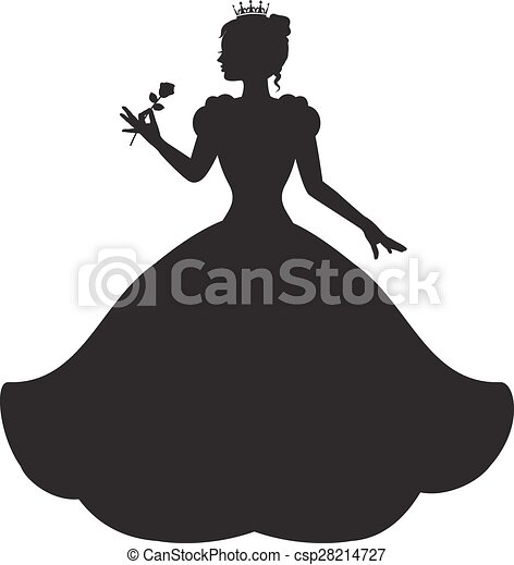 Princess in a magnificent dress. Princess silhouette in ...