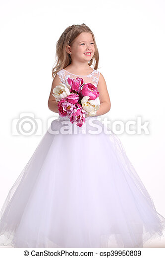 Princess In Wedding Dress With Flowers White Background Princess
