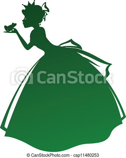 princess kissing frog silhouette of a princess kissing a frog rh canstockphoto com Frog Silhouette Leaping Frog Clip Art