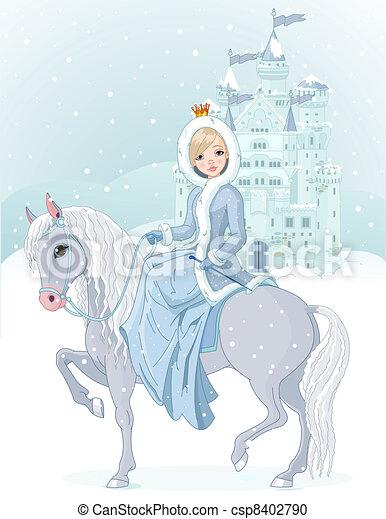 Princess riding horse at winter - csp8402790