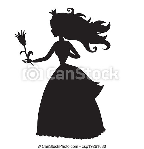 princess silhouette with a flower on a white background isolated