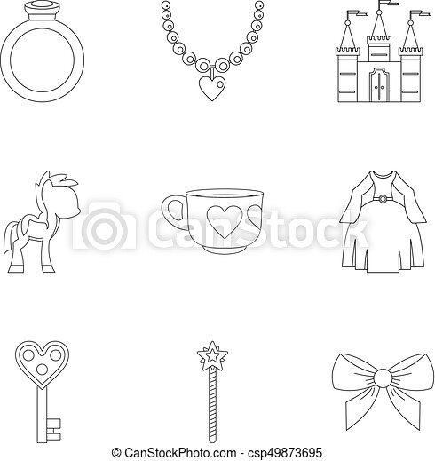 Princess things icon set, outline style - csp49873695