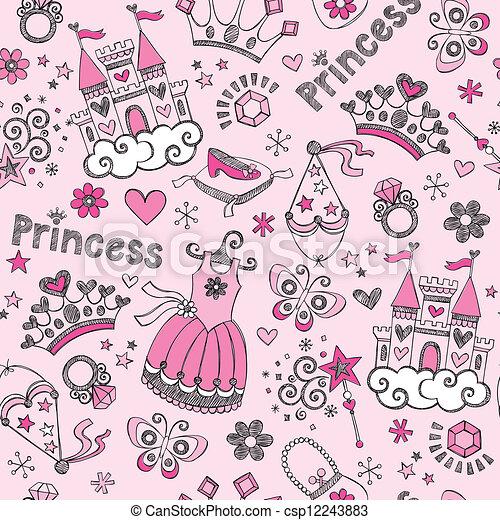 Princess Tiara Doodles Pattern - csp12243883
