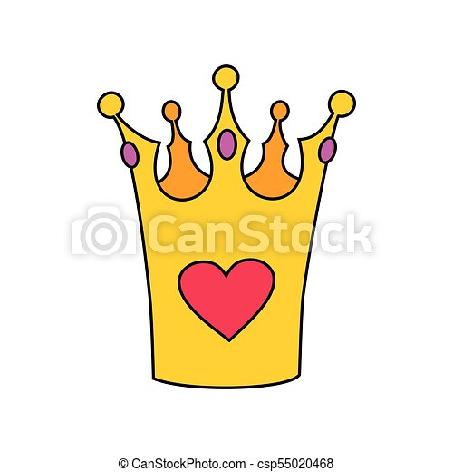 Princess vector crown with heart isolated on white background - csp55020468