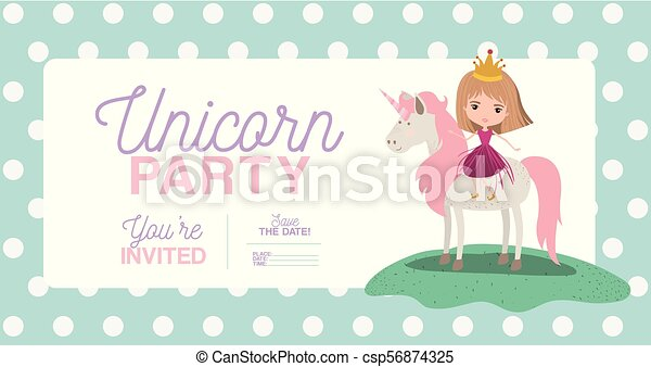 Princess with unicorn invitation card vector illustration design princess with unicorn invitation card csp56874325 stopboris Choice Image