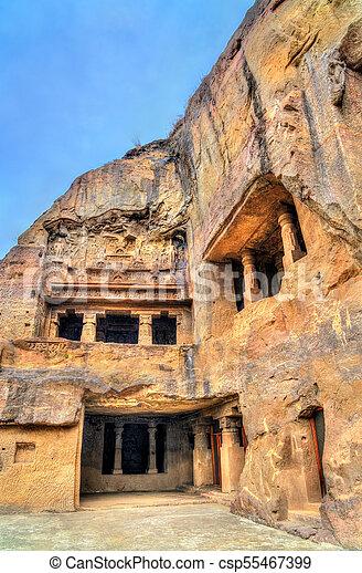 principal, caverna, unesco, budista, índia, local, maharashtra, ellora, caves., oração, herança, mundo, vishvakarma, corredor - csp55467399