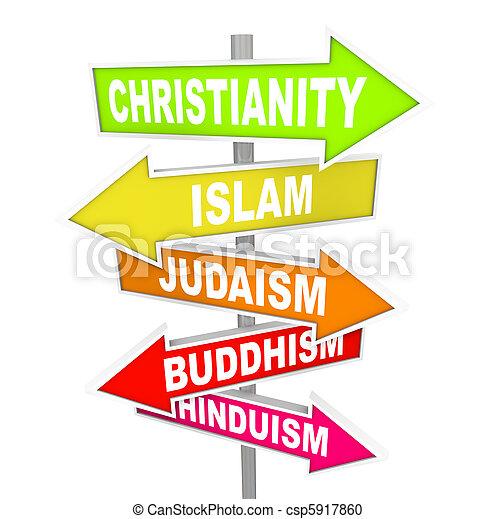 principal, religiões, cinco, seta, sinais, mundo - csp5917860