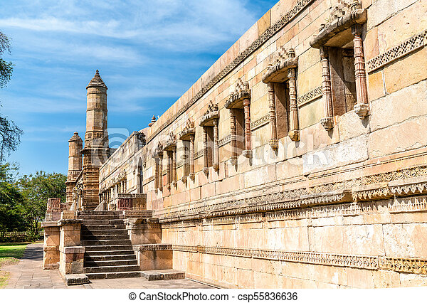 principal, turista, -, parque, champaner-pavagadh, jami, atração, arqueológico, gujarat, índia, masjid - csp55836636