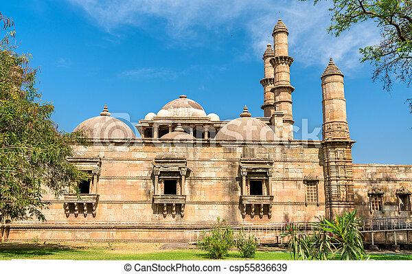 principal, turista, -, parque, champaner-pavagadh, jami, atração, arqueológico, gujarat, índia, masjid - csp55836639