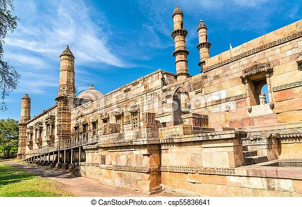 principal, turista, -, parque, champaner-pavagadh, jami, atração, arqueológico, gujarat, índia, masjid - csp55836641