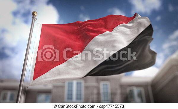 Principality of Sealand Flag 3D Rendering on Blue Sky Building Background - csp47745573