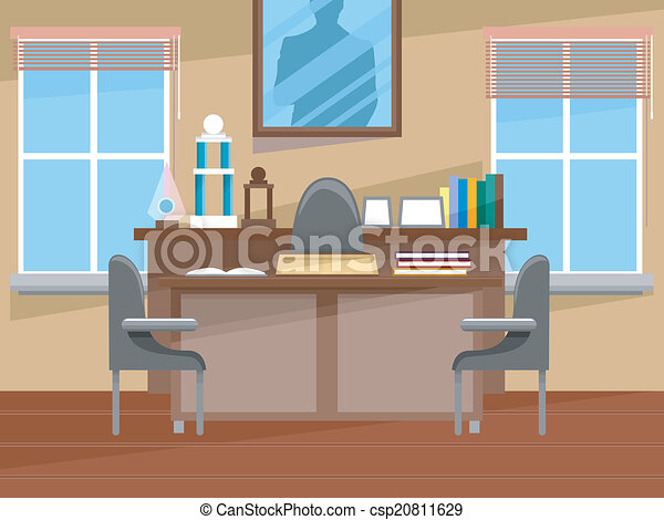 principal 39 s office interior illustration featuring the. Black Bedroom Furniture Sets. Home Design Ideas