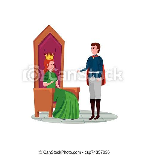 principessa, principe, carattere, bello, avatar - csp74357036