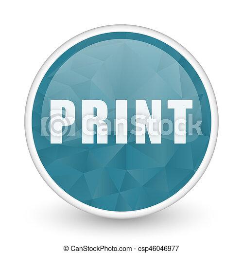 Print brillant crystal design round blue web icon. - csp46046977