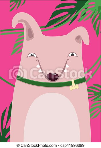 Print Bull Terrier in green leaves on a pink background - csp41996899